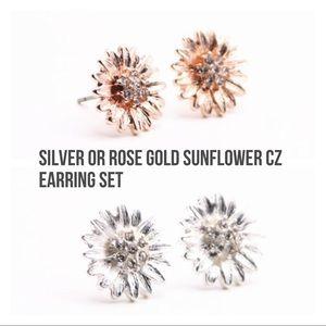 Silver or 14k rose gold sunflower earring set